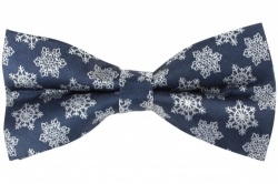 Navy Blue Pre-Tied Bow Tie With White Festive Snowflake Ice Crystal Design